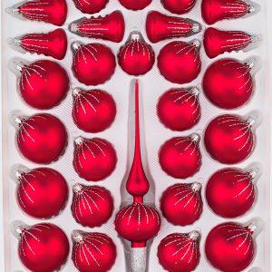 39 Weihnachtskugeln Christbaumkugeln Christmas Ball Classic Rot Regen