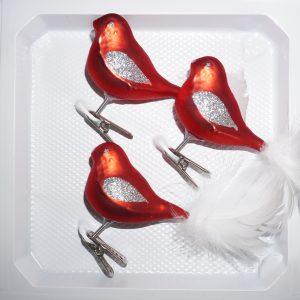 3 tlg. Glas Vogel Set in Classic Rot Silber - Edle Neuheit - Christbaumkugeln - Weihnachtsschmuck-Christbaumschmuck