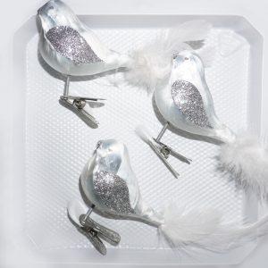 """christbaumkugeln-24.de - 3 tlg. Glas Vogel Set in """"Ice Weiss Silber"""" - Christbaumkugeln - Weihnachtsschmuck-Christbaumschmuck"""