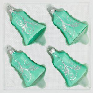 4 teilige Glas Glocken Set Christbaumkugeln Weihnachtskugeln Set Hochglanz Mint Minz Design