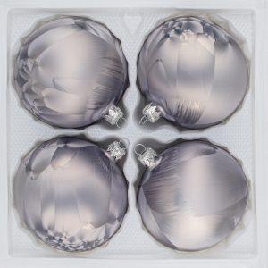 4 teiliges Christbaumkugeln Ice Grau 8cm durchmesser Eislack Weihnachtskugeln Christmasballs Christmas baubles