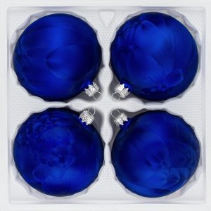 4 teiliges Christbaumkugeln Ice Royal Blau 8cm durchmesser Eislack Weihnachtskugeln Christmasballs Christmas baubles