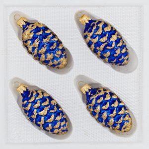 4 tlg. Glas-Tannenzapfen Set in Ice Royal Blau Gold