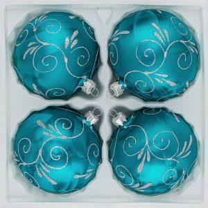 "4 tlg. Glas-Weihnachtskugeln Set 10cm Ø in ""Ice Petrol-Türkis Silber Ornamente""- Christbaumkugeln - Weihnachtsschmuck-Christbaumschmuck 10cm Durchmesser"