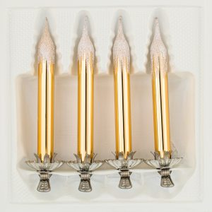 "4tlg. Glas-Baumkerzen Set in ""Hochglanz Vintage Gold"" Reflexkugeln Reflectorball Christmas ball Candles Candle German Christmas glass ornaments"
