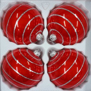 """christbaumkugeln-24.de - 4 tlg. Glas-Weihnachtskugeln Set 10cm Ø in """"Hochglanz Rot Candy"""" Silberne-Ornamente - Neuheit -"""" Christbaumkugeln - Weihnachtsschmuck-Christbaumschmuck 10cm Durchmesser"""