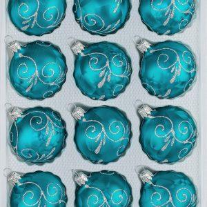 "12 tlg. Glas-Weihnachtskugeln Set in ""Ice Petrol-Türkis Silberne Ornamente"""