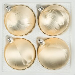 """4 tlg. Glas-Weihnachtskugeln Set 10cm Ø in """"Ice Champagner"""" Eislack - Christbaumkugeln - Weihnachtsschmuck-Christbaumschmuck 10cm Durchmesser"""