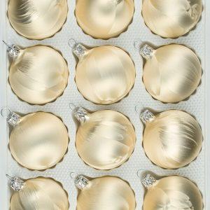 """12 tlg. Glas-Weihnachtskugeln Set in """"Ice Champagner"""" Eislack - Christbaumkugeln - Weihnachtsschmuck-Christbaumschmuck"""
